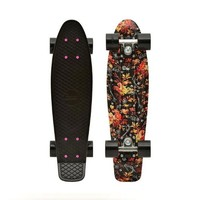 Penny Nickel Graphic Complete Skateboard, Floral Black, 27-Inch