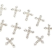 Great Quality Set of 10 Premium Silver Crosses Manicure 3D Nail Art Decorations Studded With Clear Rhinestones / Crystals By VAGA
