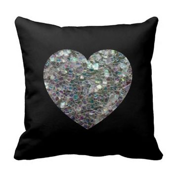 Reversible Sparkly colourful silver mosaic Heart Black Throw Pillow Cushion by PLdesign