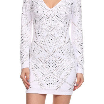 Long Sleeve Quilted Bodycon Mini Dress D5080-7448
