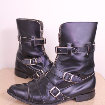 Vintage - 80s - Goth - Dark Wave - Black Leather - Zipper - Zip Up - Buckles - Strappy - Pointy Winklepickers - High - Mens Boots - 10