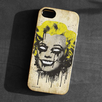 IPhone 5 Case zombie Marilyn Monroe skull TPU Gel Silicone Cover iPhone 5 gothic art black yellow