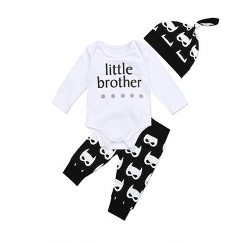 Newborn Infant Baby Boys Super Hero Little Brother Tops Romper Pants Outfits Set Clothes