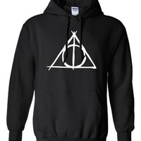 Hogwarts hollows Deathly Hallows Crest Printed Hoodie hooded sweater Mens Ladies Womens Youth Kids Funny Harry Potter Wizard Magic ML-110H