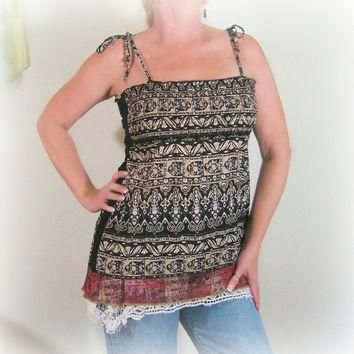 Tribal Print Lagenlook Tunic, ON SALE-25% OFF! Altered Couture by Pandora's Passions