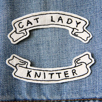 Custom Text Banner Embroidered Patch/Brooch