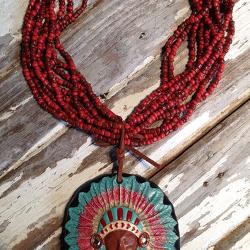 INDIAN CHIEF CLAY NECKLACE