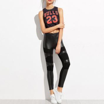 Women Skinny Faux Leather High Waist Leggings Autumn Winter New Sexy PU Patchwork Joint Sequin Leggi