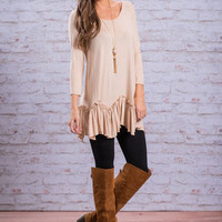 Ruffle Delight Top, Latte