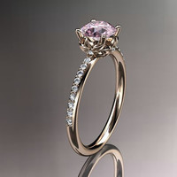 14kt rose gold diamond floral wedding ring,engagement ring with morganite center stone ADLR92