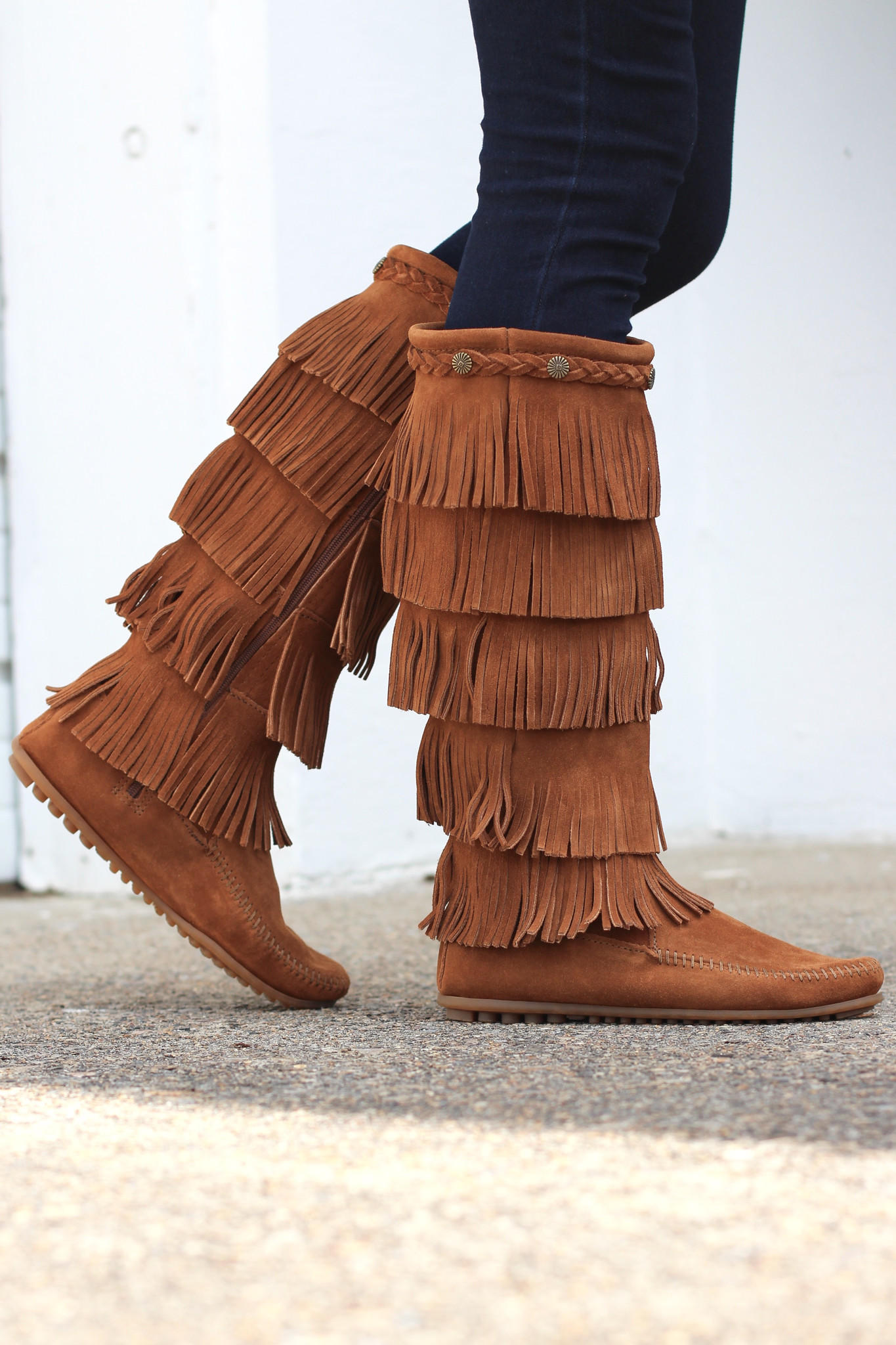 Minnetonka: 5 Layer Fringe Boot {Brown} from The Fair Lady