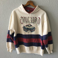 1980's Colorado Vintage Striped Deer Graphic Sweatshirt by Sun Triangle