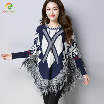 Autumn And Winter New Fashion Women Loose Geometric Pullover Tassel Cloak Poncho Women  Round Neck Tassel Cloak Sweater Female
