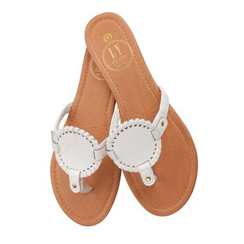 White Monogramable Sandals