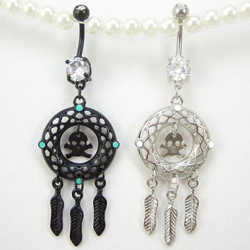 Gem skull  Dream catcher Belly button Ring silver piercing Accessary 316L medical stainless steel navel ring navel nail