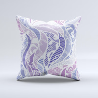 Purple and White Lace Design  Ink-Fuzed Decorative Throw Pillow