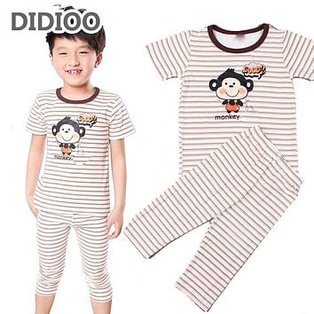 Pajama Sets for Boys Summer Sleepwear Cartoon Monkey Infants Casual Short Sleeve Pajama Sets Children Striped Clothing Sets