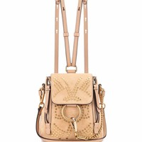 Faye Mini studded suede backpack