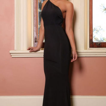 Black Prom Party Long Dress with Low Cut-out Back