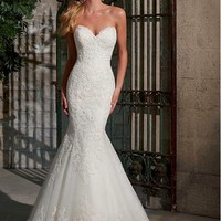 [215.99] Elegant Tulle Sweetheart Neckline Natural Waistline Mermaid Wedding Dress With Lace Appliques - dressilyme.com