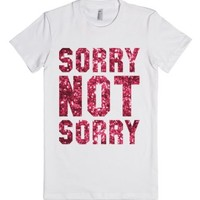 Sorry Not Sorry (Sparkle)-Female White T-Shirt
