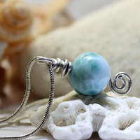 Larimar Ball Sterling Silver Wire Wrap Pendant snake chain Necklace Charm Marbled Turquoise Blue Pectolite bead Boho Rough ooak handmade