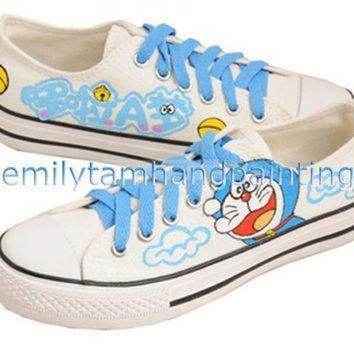 DCCK1IN custom doraemon converse sneakers low cut hand painting cartoon canvas shoes