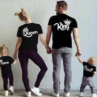 2017 Summer Matching Family Clothes Casual Solid Short Sleeve Cotton T-shirt King Queen Couples Tshirt Crown Printed Funny Tops