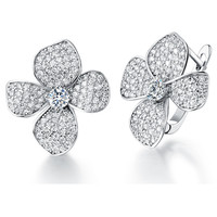 18K White Gold Plated Floral Crystal Pave Clip On Earrings