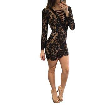 Women Sexy V-Neck Chest Bandage Lace Long Sleeved Dress Female Vestidos Femininos Mini Dress Black White