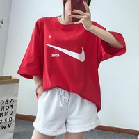 NIKE 2018 summer new loose cotton T-shirt + elastic waist cuff shorts set two-piece F0471-1 red
