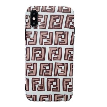 Fendi 2019 new pink double F letter iPhone XS Max mobile phone shell soft shell protective cover