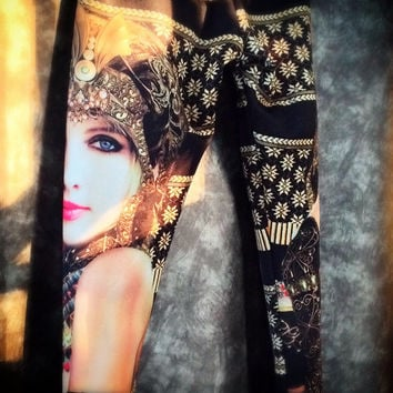 model print legging / black gold pattern legging / Halloween costume / border print pant