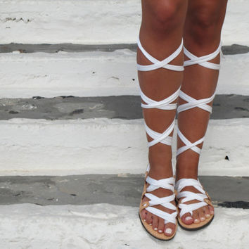 "Greek Lace up sandals, Customizable Choose scarf laces from 18 colors and leather footbed from 6 colors  ""ATHENA"" ATHS14"