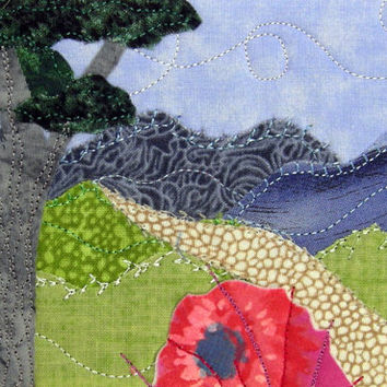 Fabric Postcard Appliqued Textile Art Mini Art Quilt Handmade Hiking Path Mountain Postcard Landscape Postcard Pink Flowers