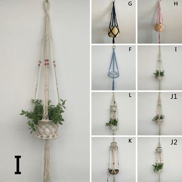 Vintage Weave Hanging Basket Plant Pot Holder For Garden Home Balcony Decoration