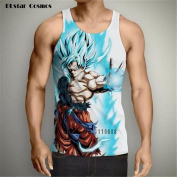 Fashion Brand men Tank Tops Anime Dragon Ball Z Super Saiyan 3d Hipster vest Men Women summer style Streetwear casual vest tops