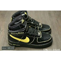 Nike Air Force One trendy classic in the help plate shoes F-HAOXIE-ADXJ Black + yellow hook