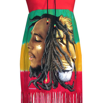 Bob Marley Beaded Fringe Beach Rasta Dress