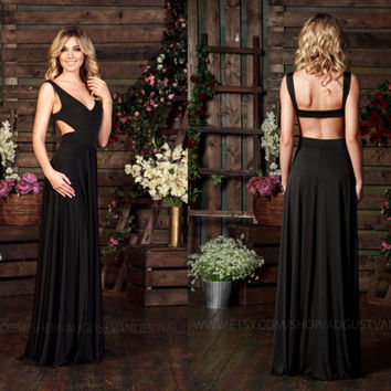 Black Dress Maxi with Open Back, Special occasion sexy Dress, Formal Dress, Evening gowns, Evening dress, Long Sleeveless dress, Party dress