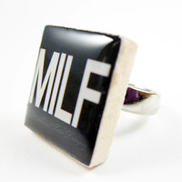Scrabble Ring Jewelry, MILF (Mother I Love to ...), Adjustable Silver Ring, Quote Jewelry, Funny Ring