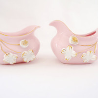 Vintage 1940's Japanese Cream & Sugar Set, Pink Light Pink Japan Flower Floral White Gold Small Tiny Serving 30s 40s 50s 60s WWII Tea Time