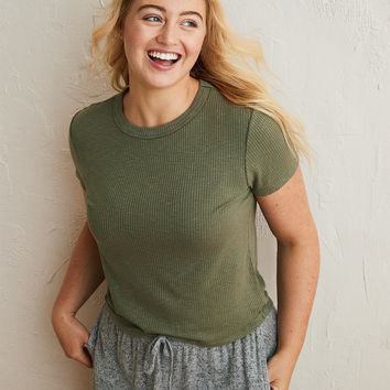 Aerie Real Soft® Ribbed Baby Tee, Olive Fun