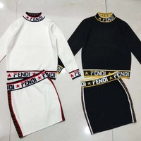 Fendi Women High collar Long Sleeve Top Skirt Two-Piece