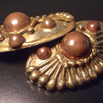 Mixed Metal Large Handmade Earrings, Hencho Mexico, Textured Relief, Vintage