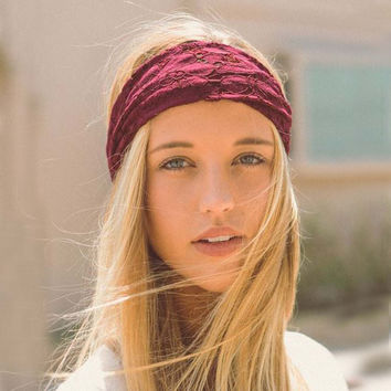Gypsy Lace Headwrap in Burgundy