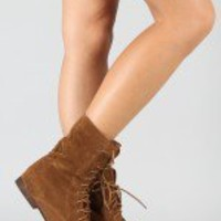 Breckelle Sandy-12 Lace Up Mid Calf Boot