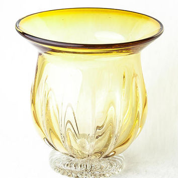 "Vase Hand Blown Glass Yellow Optic Glass 5.5"" Clear Glass Foot"
