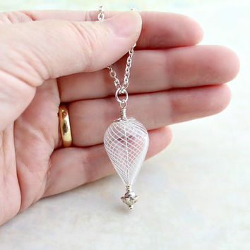 Winter White and Silver Hot Air Balloon Necklace - Cool Ride Winter Balloon - Hot Air Balloon Jewelry - Winter Necklace