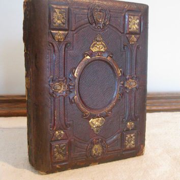 Victorian Photo Album, Tooled Leather with Gold Details, Beautiful Floral Pages, Mostly Empty Photo Slots, CDV Album
